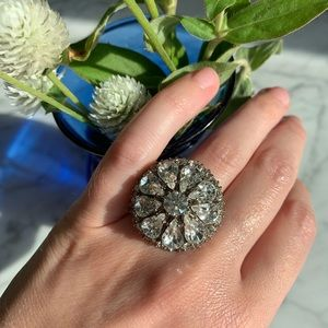 Silver fashion ring with rhinestones